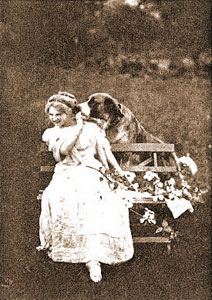 photo of large dog kissing woman