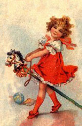 child riding a hobby horse