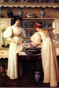 painting of Edwardian women doing the dishes