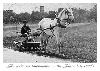 horsedrawn lawnmower in the 1880s site maintenance