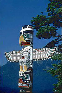 Totem pole in Stanley Park, Vancouver, B.C.