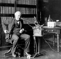 Edison using his dictating machine