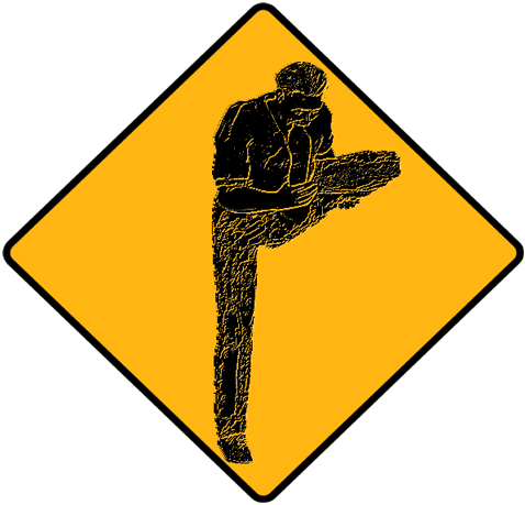 caution foot-in-mouth road sign
