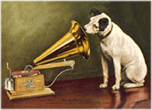 painting of the RCA dog, Nipper, and a victorla