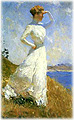 1890s woman in a white dress searching the ocean