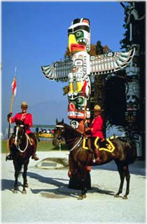 mounties and totem pole