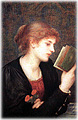 Red headed woman reading a book