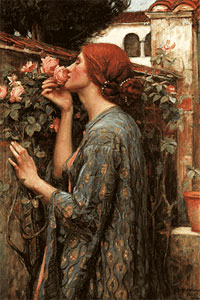 painting by John Waterhouse of woman smelling roses